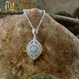 خرید گردنبند زنانه نقره جواهری نگین دار طرح گل Nw-n235 - روی سنگ