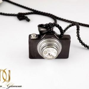 گردنبند طرح دوربین مشکی استیل با زنجیر 37 سانتی nw-n239 از نمای بالا