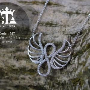 گردنبند نقره دخترانه طرح فرشته با نگین برلیان اتمی nw-n234 از نمای نزدیک