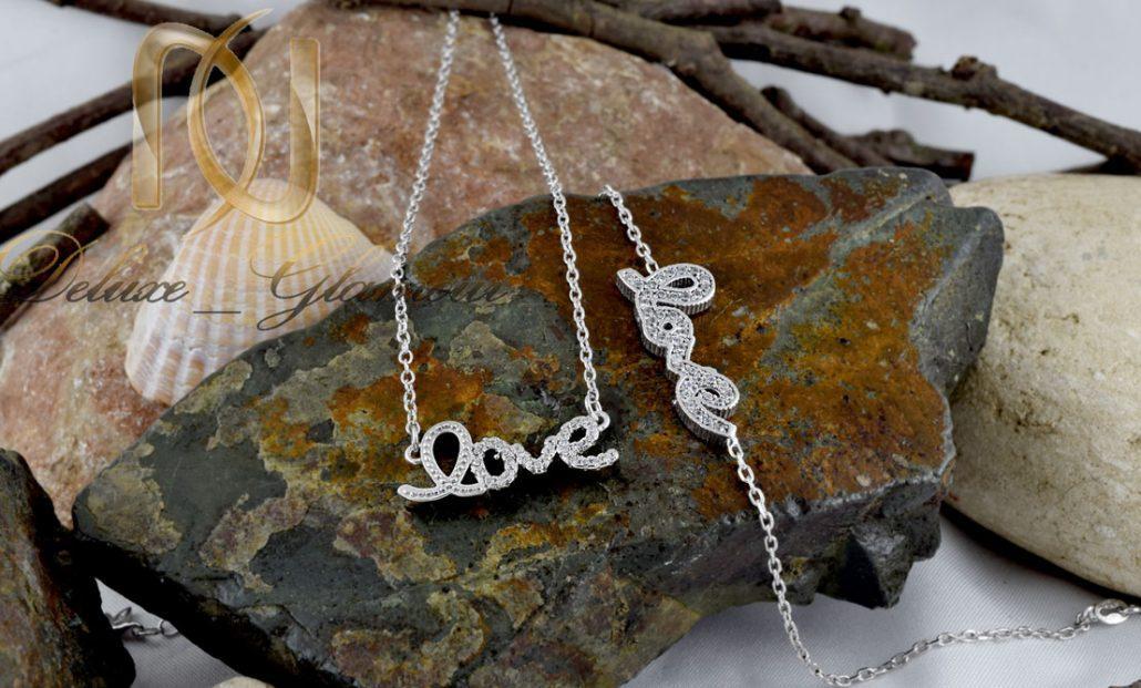 خرید ست گردنبند و دستبند ظریف نقره طرح love کد ns-n192 سطح طرح