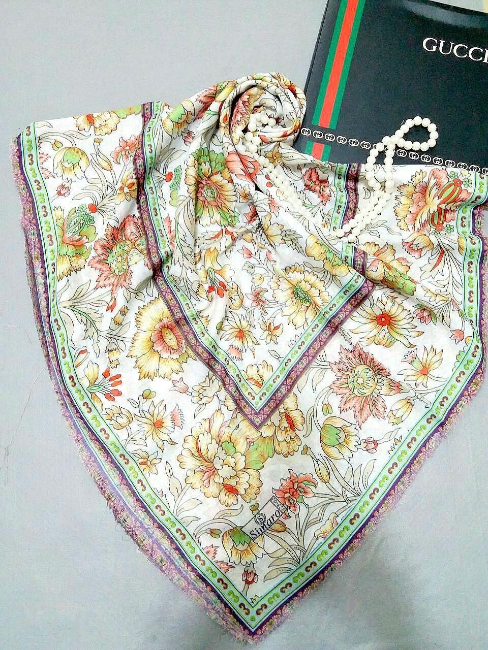 روسری  گل مینیاتور  نخی ریشه سوزنی قواره بزرگ  sr-n115