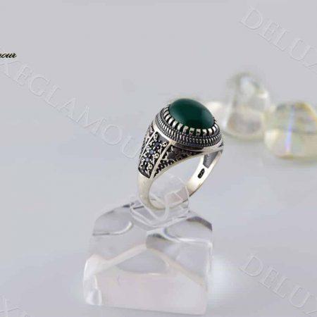 ovdn انگشتر مردانه نقره با سنگ عقیق سبز Rg-n201 - عکس اصلی