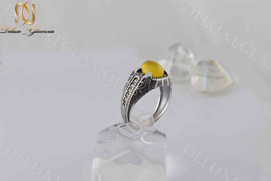 خرید انگشتر مردانه نقره با سنگ عقیق زرد Rg-n202 - عکس اصلی