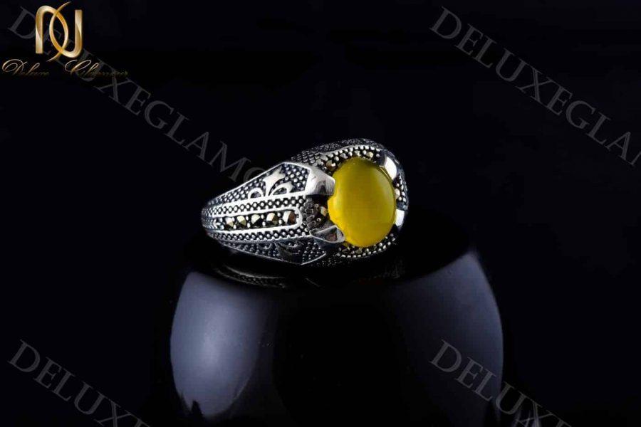 انگشتر مردانه نقره با سنگ عقیق زرد Rg-n202 - زمینه مشکی