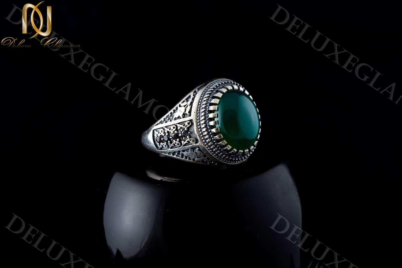 انگشتر مردانه نقره با سنگ عقیق سبز Rg-n201 - زمینه مشکی