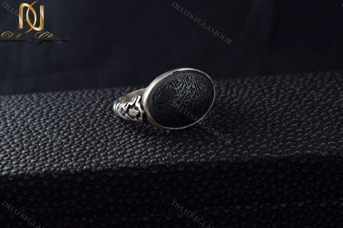خرید انگشتر مردانه نقره حکاکی شده با سنگ حدید اصل Rg-n236 - زمینه مشکی