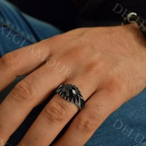 انگشتر مردانه نقره با نگین عقیق سه بعدی Rg-n213 - روی دست