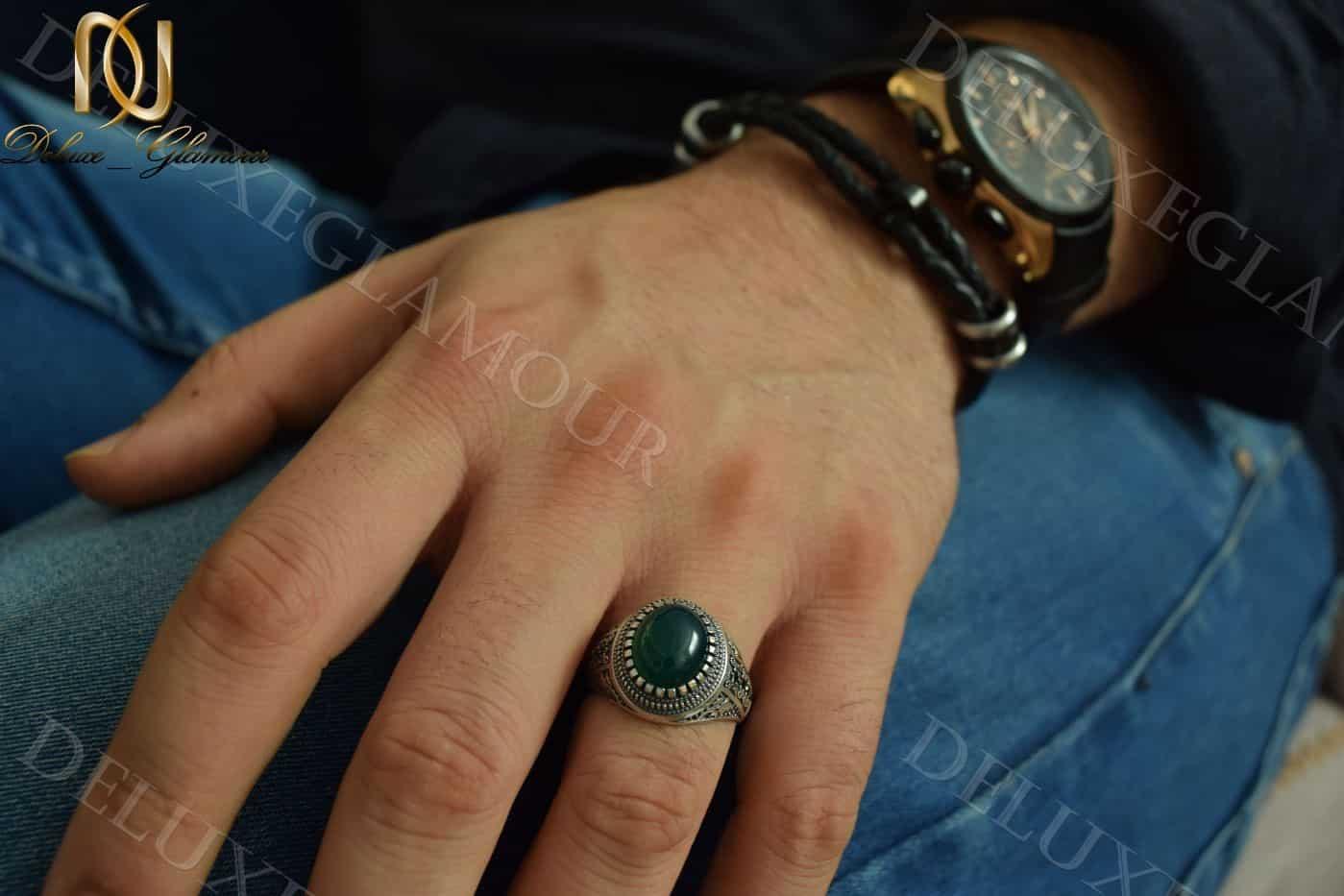 انگشتر مردانه نقره با سنگ عقیق سبز Rg-n201 - روس دست