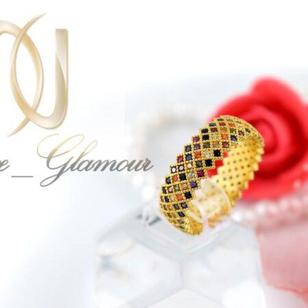 انگشتر دخترانه شیک نقره با نگینهای رنگارنگ Rg-n266