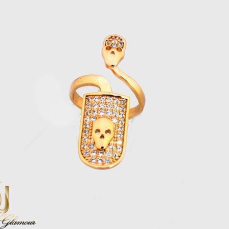 انگشتر روناخنی ژوپینگ طلایی با نگین زیرکونیا rg-n269 از نمای سفید