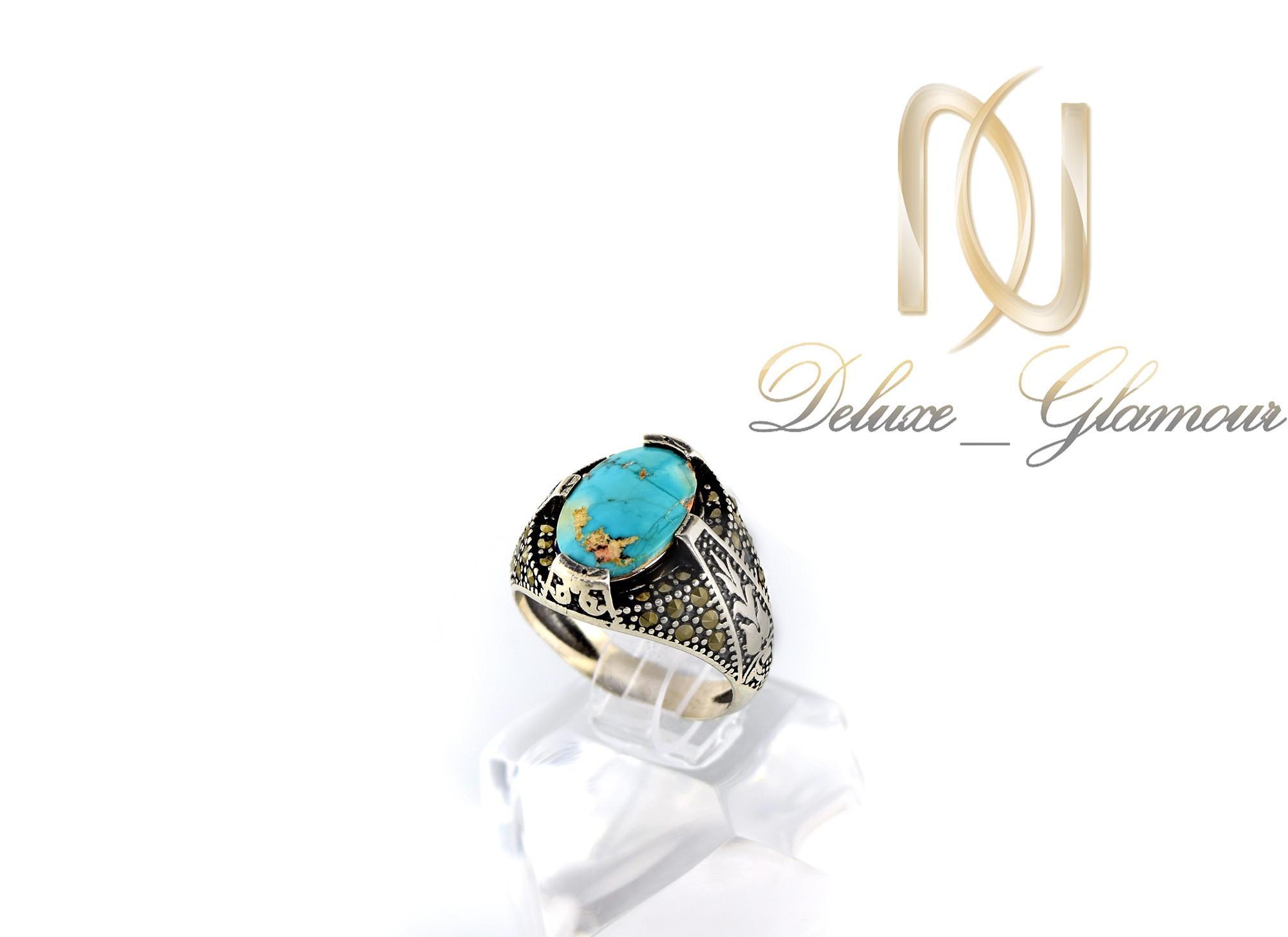 خرید انگشتر مردانه نقره با سنگ فیروزه درشت اصل نیشابور Rg-n261 روی استند