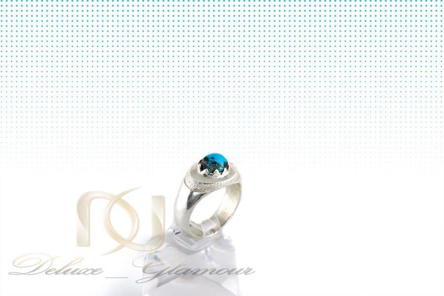 خرید انگشتر مردانه نقره با سنگ فیروزه گرد اصل نیشابور Rg-n260