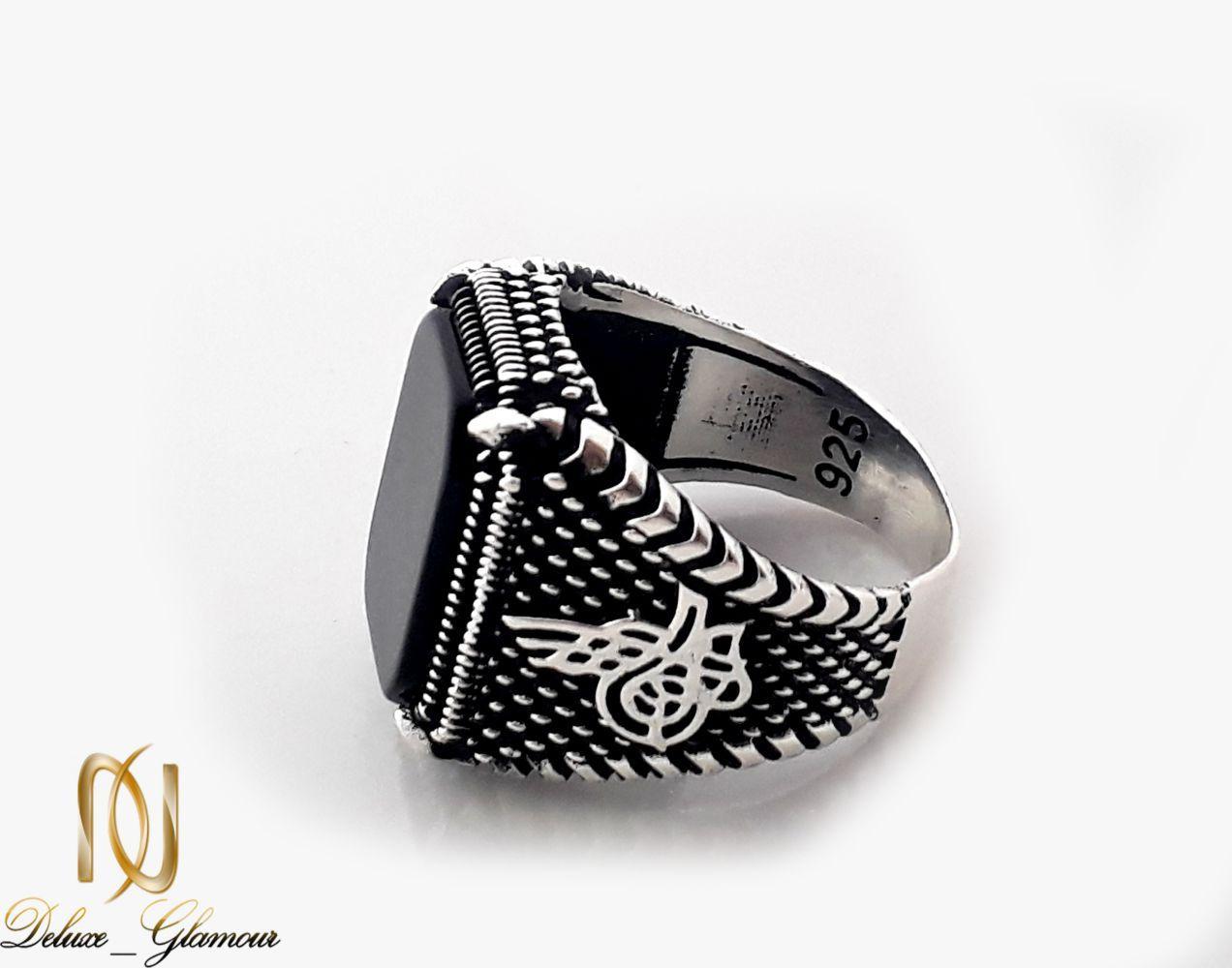انگشتر مردانه نقره با نگین عقیق مشکی مربعی rg-n249