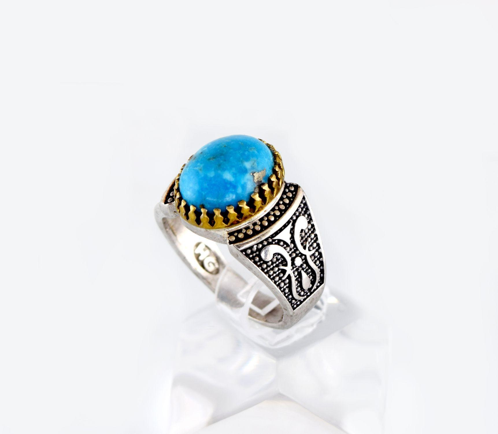انگشتر مردانه نقره با نگین فیروزه اصل نیشابور rg-n270 از نمای روبرو