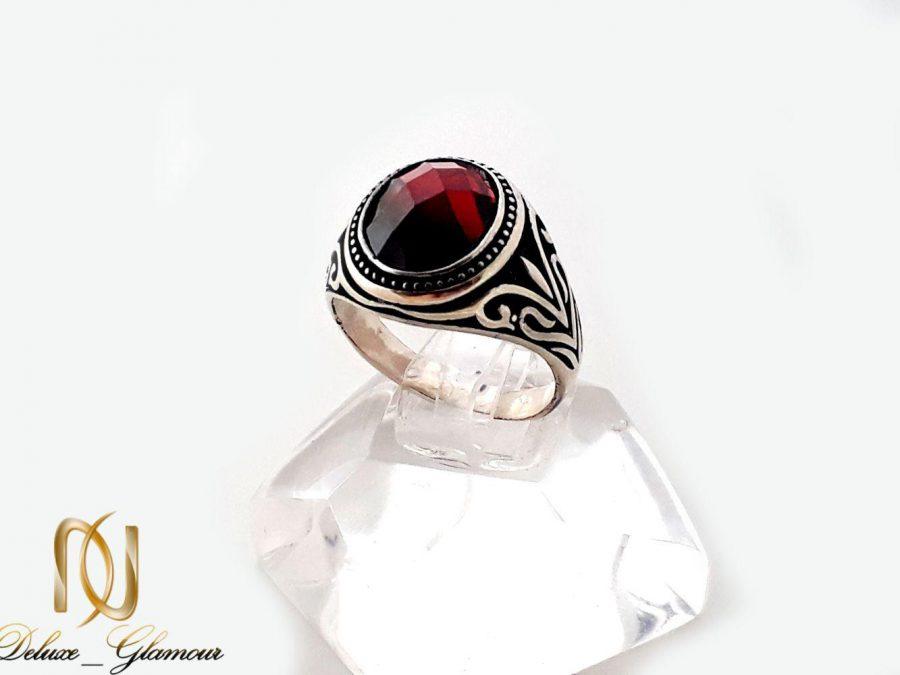 انگشتر مردانه نقره 925 با نگین عقیق سرخ rg-n248 از نمای روبرو