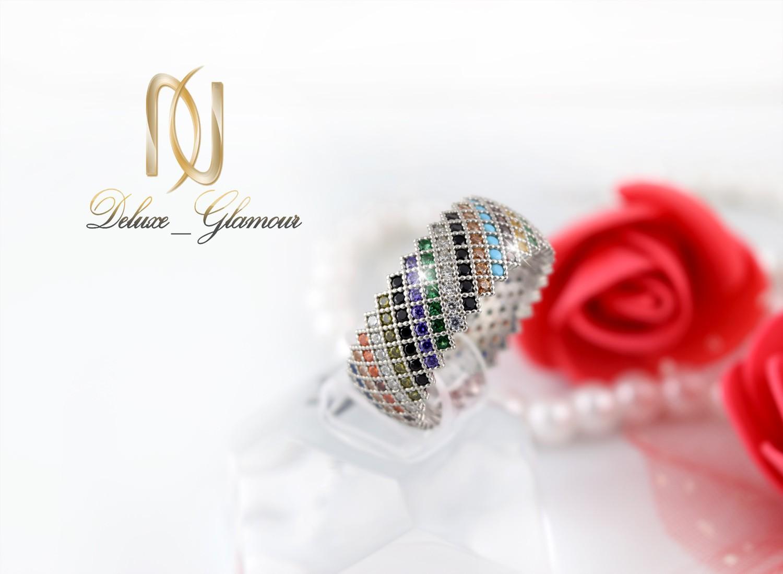 خرید انگشتر نقره دخترانه رنگارنگ با نگین های برلیان اتمی Rg-n256 - عکس اصلی
