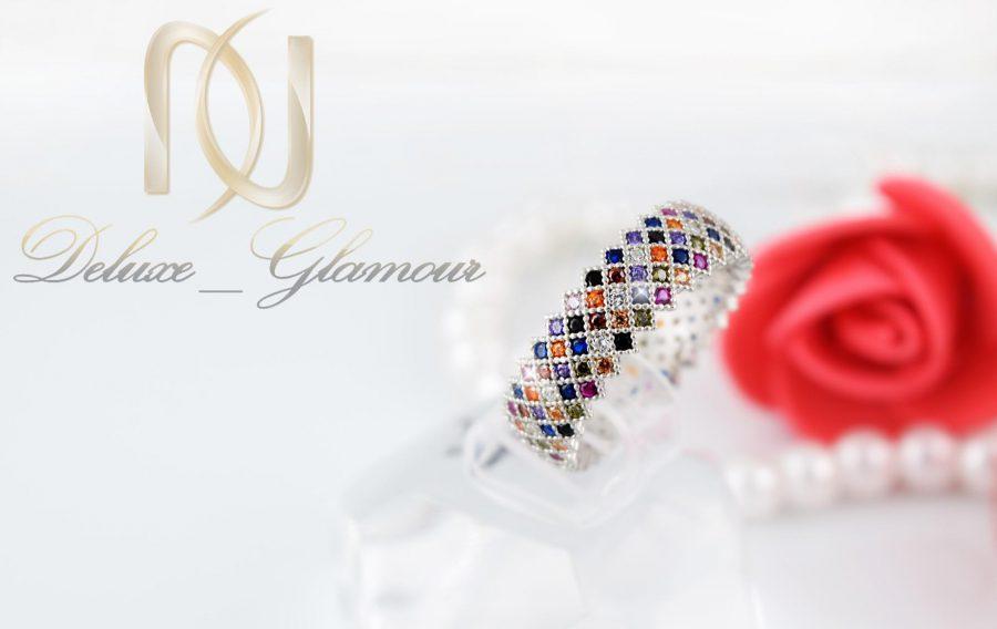 انگشتر نقره ظریف دخترانه رنگارنگ با نگین های برلیان اتمی Rg-n255
