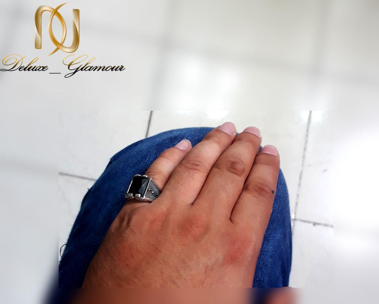 انگشتر نقره مردانه عیار 925 با نگین عقیق و مارکازیت rg-n253