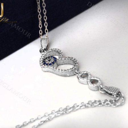 دستبد نقره دخترانه طرح قلب و چشم نظر و بینهایتDs-n238 - عکس اصلی