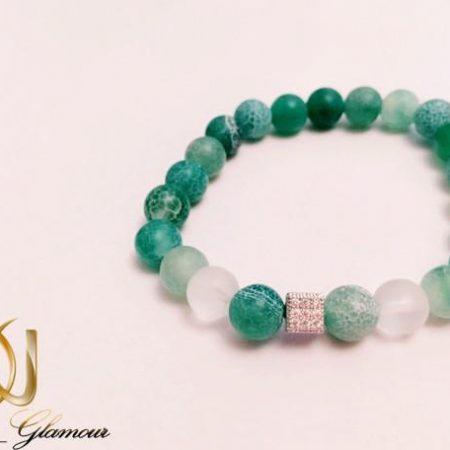 دستبند اسپرت سنگ عقیق سبز آفریقایی فری سایز ds-n252 از نمای پایین