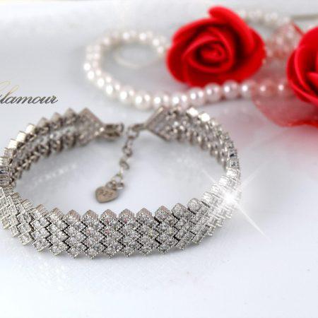 دستبند بند ساعتی نقره عریض زنانه جواهر DS-N243
