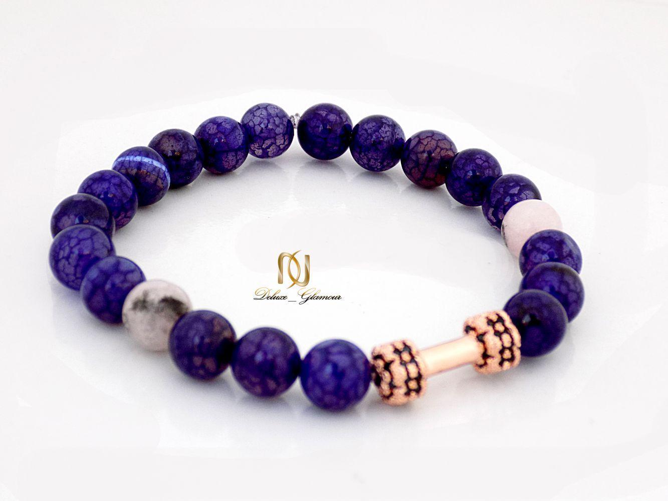دستبند دخترانه سنگ لاجورد با مهره استیل رزگلد ds-n248 از نمای پایین