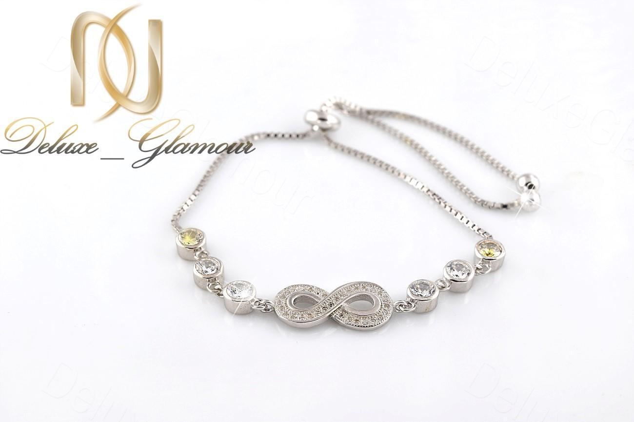 خرید دستبند دخترانه نگین دار نقره طرح بینهایت Ds-n245 - عکس اصلی