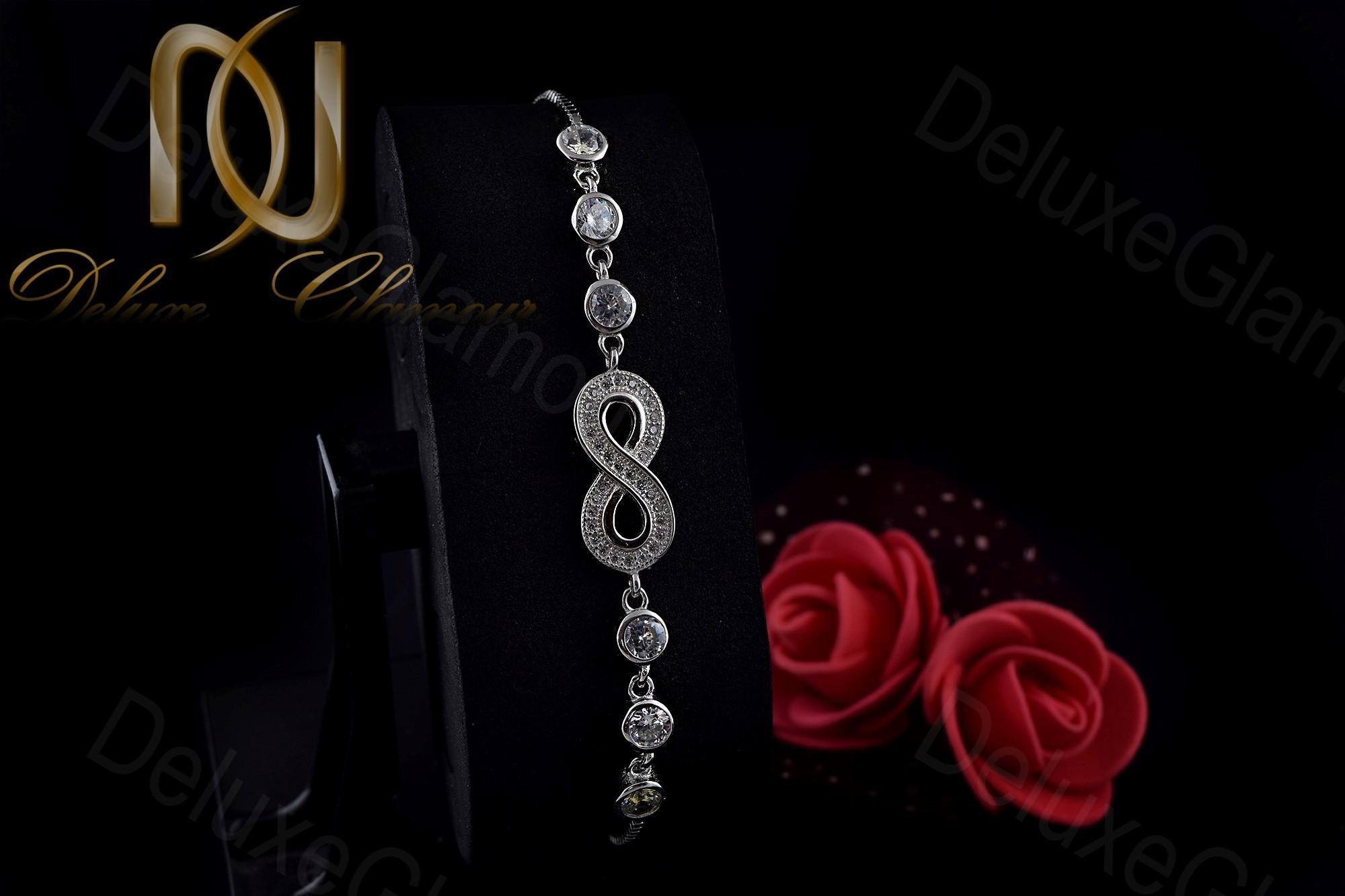 دستبند دخترانه نگین دار نقره طرح بینهایت Ds-n245