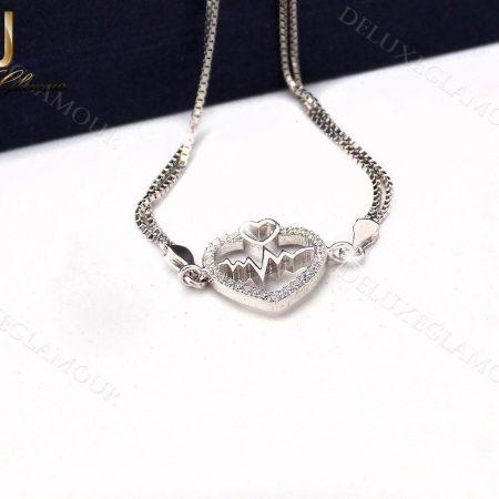 دستبند ظریف نقره دخترانه طرح قلب و ضربان Ds-n237 - زمینه سفید