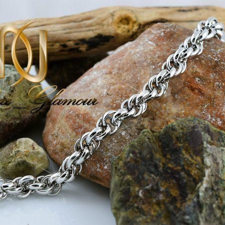 خرید دستبند مردانه استیل براق طرح مارپیچ Ds-n253 - عکس اصلی