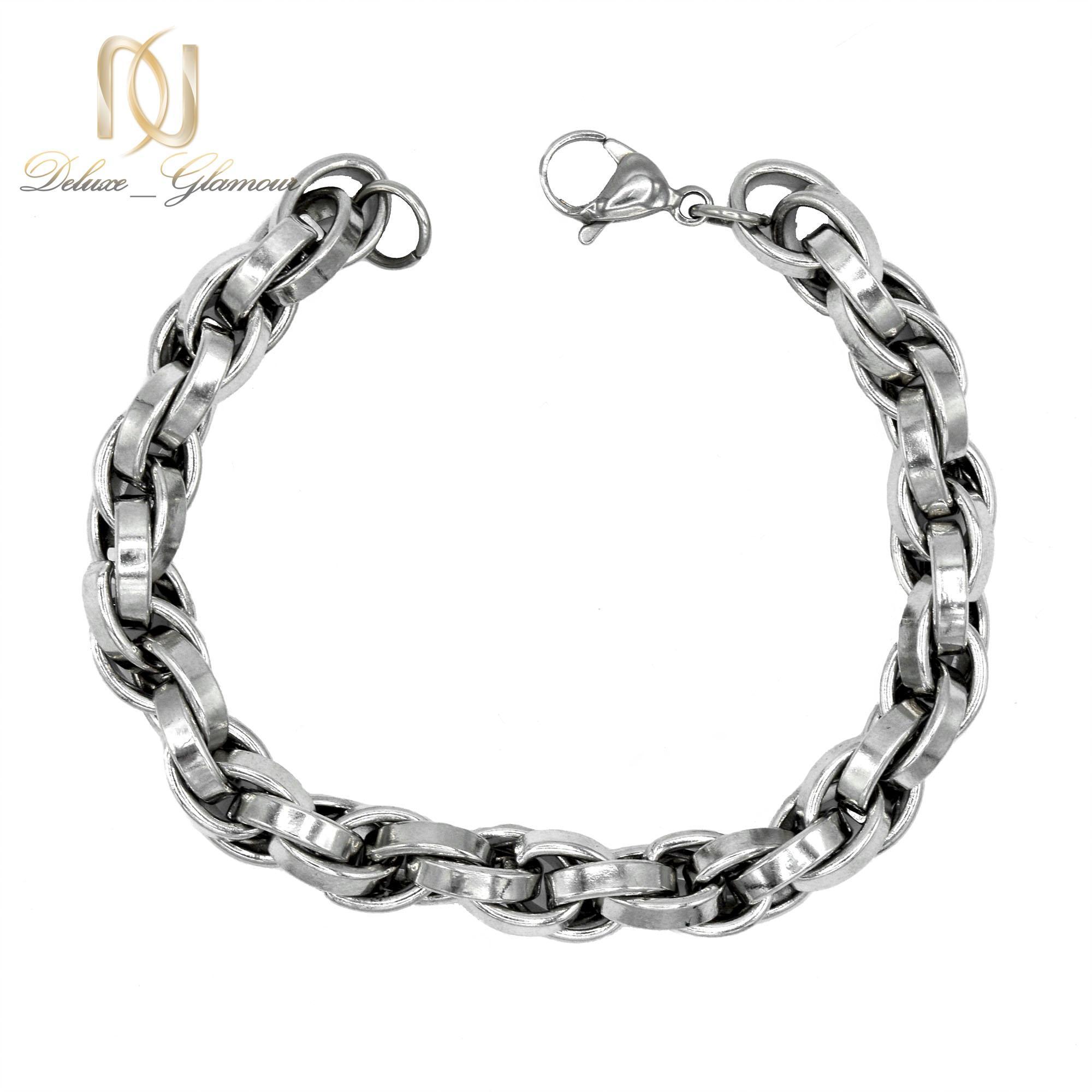 دستبند مردانه استیل براق طرح مارپیچ Ds-n253 - عکس اصلی