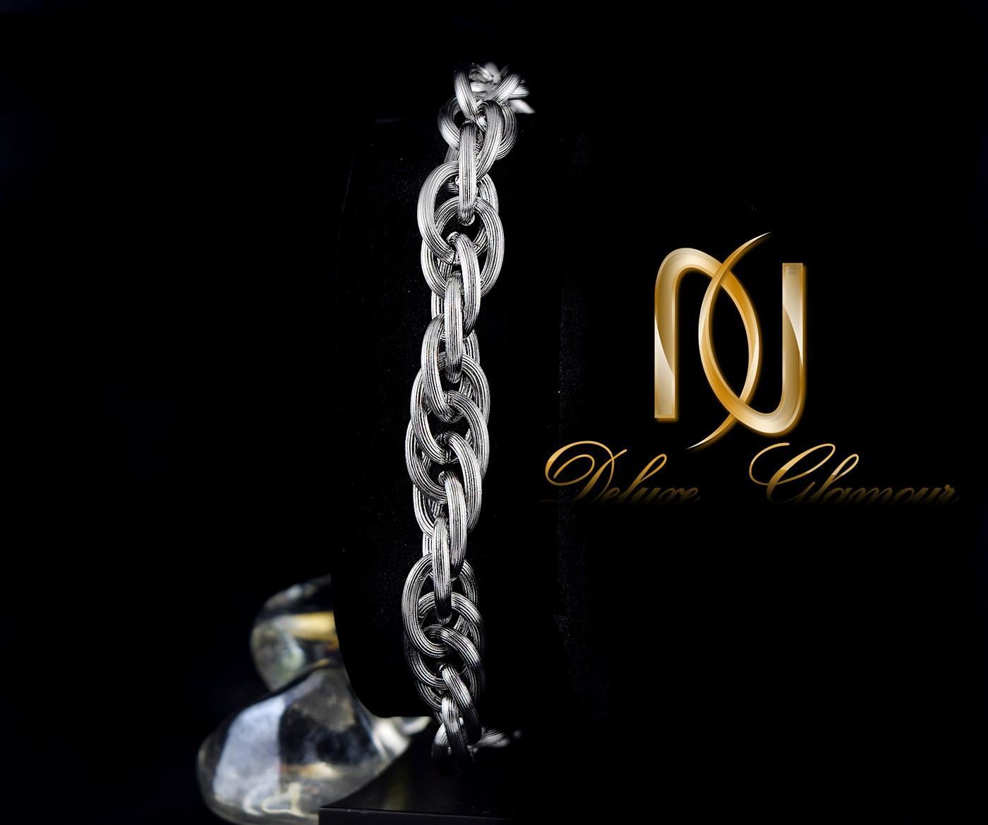 دستبند مردانه زنجیری استیل مات Ds-n251 - زمینه مشکی