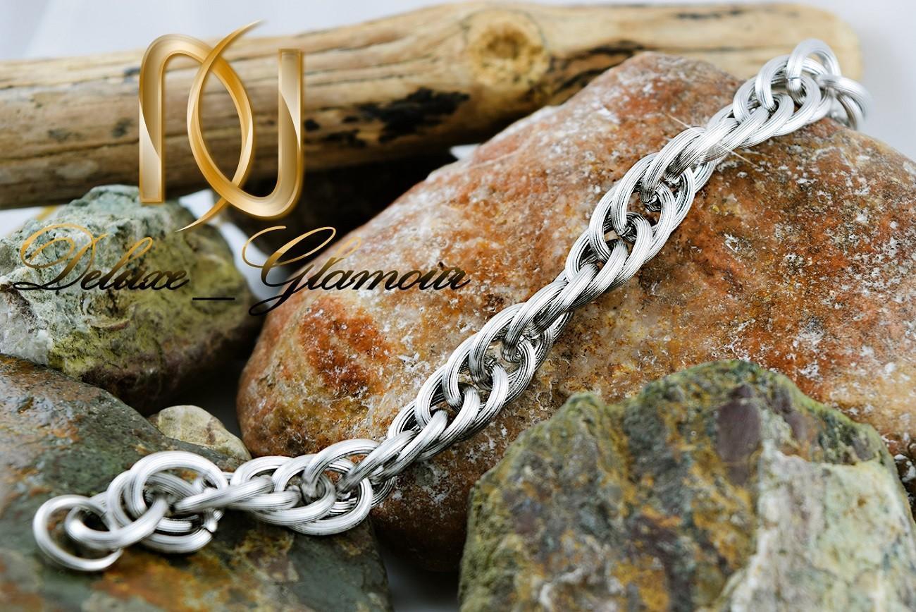 دستبند مردانه زنجیری استیل مات Ds-n251 - روی سنگ