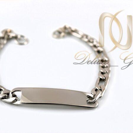 دستبند مردانه طرح کارتیه استیل با پلاک ساده آینه ای Ds-n249