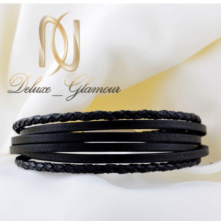 دستبند مردانه چرمی 6 لاینه با قفل آهنربایی ds-n258 از نمای سفید