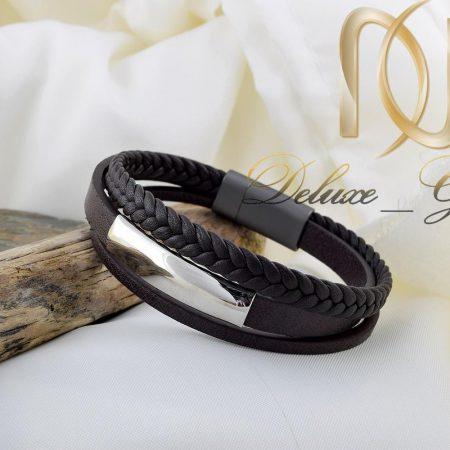 دستبند مردانه چرم سه لاینه با رویه استیل ds-n 257 از نمای کنار
