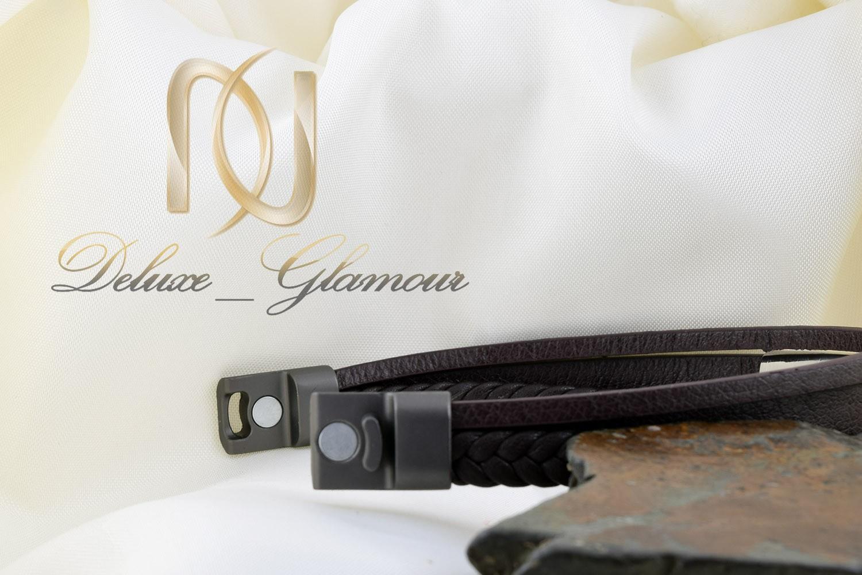 دستبند مردانه چرم سه لاینه با رویه استیل ds-n 257
