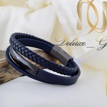 دستبند مردانه چرم سه لاینه رنگ سرمه ای ds-n255 از نمای روبرو