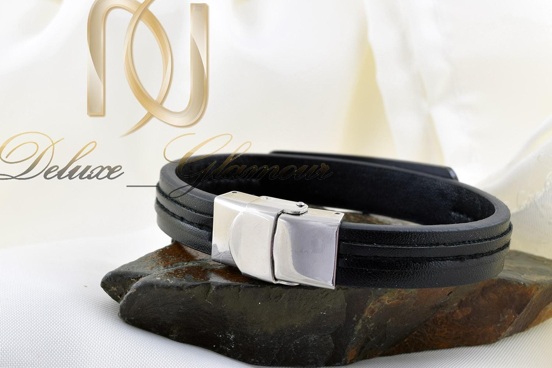 دستبند مردانه چرم طرح louisvuitton با قفل جعبه ای ds-n254 (3)