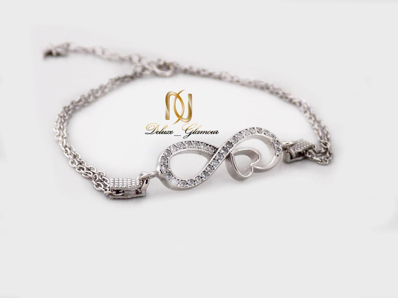دستبند نقره دخترانه بی نهایت با نگین برلیان اتمی اصل ds-n239 از نمای دور