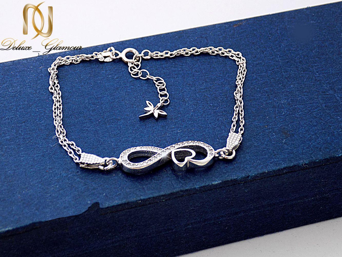 دستبند نقره دخترانه بی نهایت با نگین برلیان اتمی اصل ds-n239 از نمای بالا