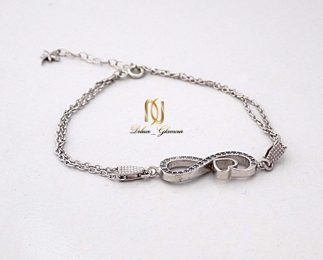 دستبند نقره دخترانه بی نهایت با نگین برلیان اتمی اصل ds-n239 از نمای سفید