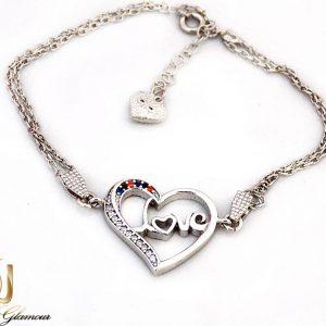 دستبند نقره دخترانه طرح قلب با نگین برلیان اتمی ds-n247 از نمای روبرو
