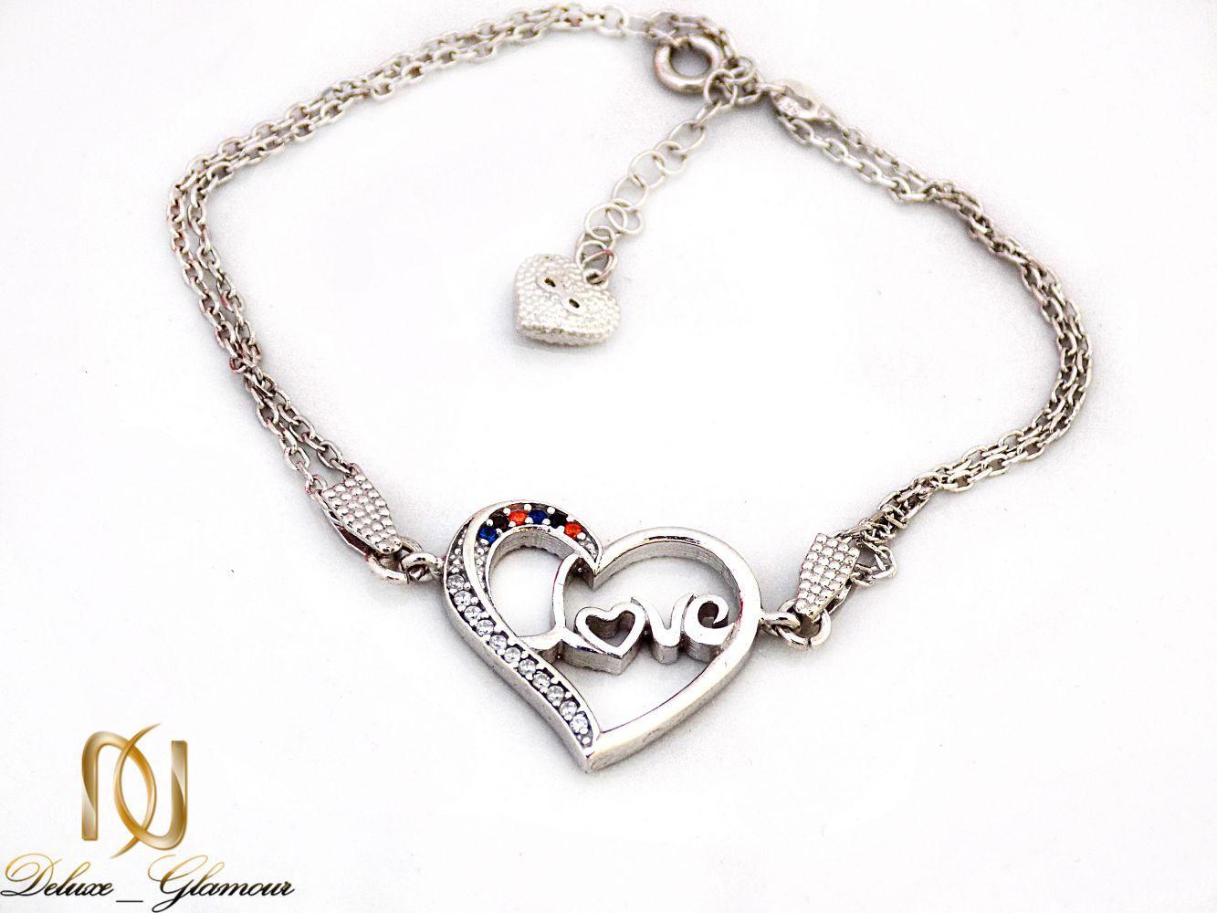 دستبند نقره دخترانه طرح قلب با نگین برلیان اتمی ds-n247