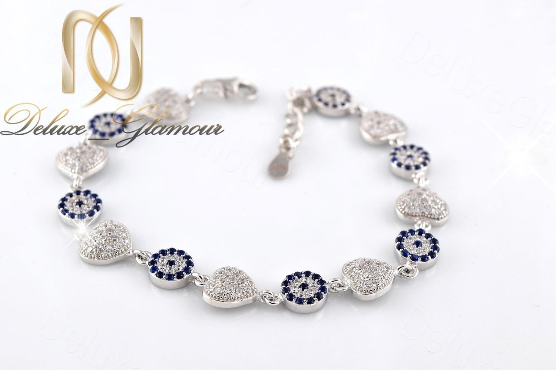 دستبند نقره دخترانه طرح قلب و چشم نظر با نگین برلیان ds-n244 از نمای سفید