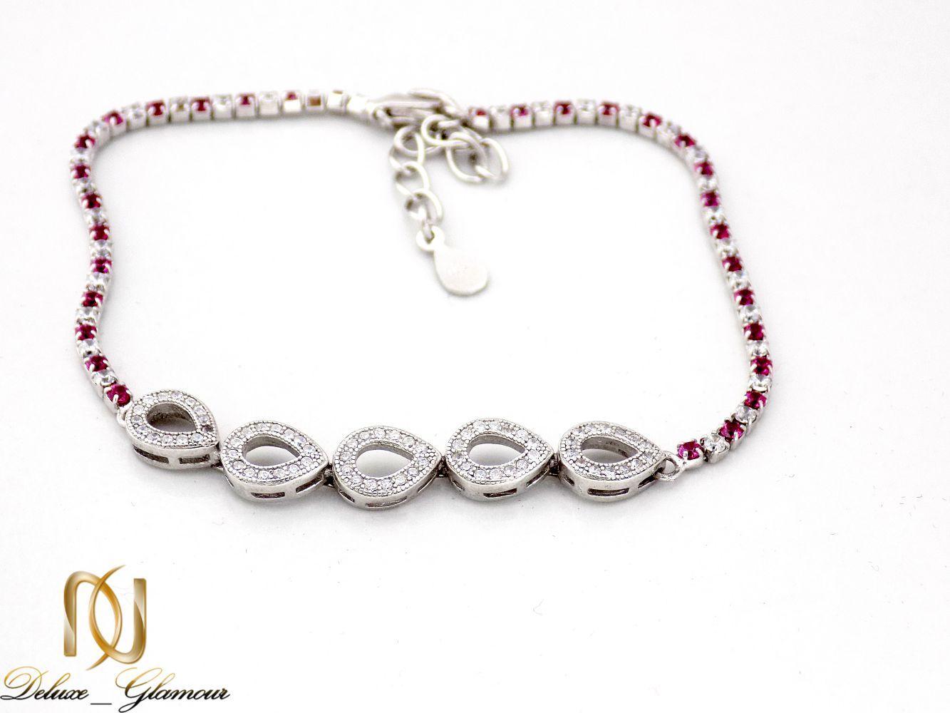 خرید دستبند نقره دخترانه نگین دار طرح اشک Ds-n241- عکس اصلی