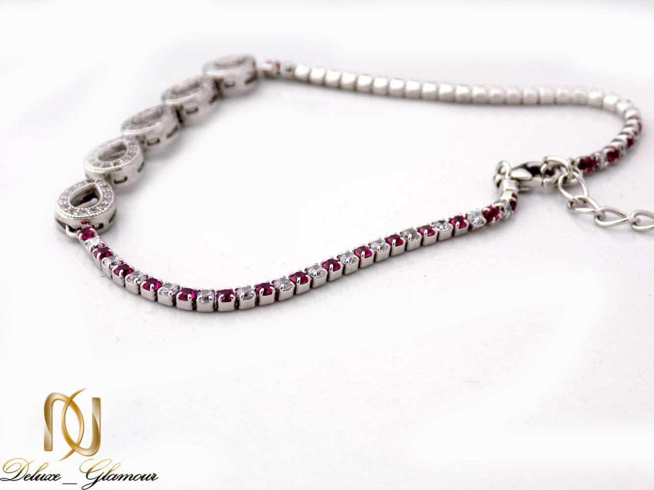 دستبند نقره دخترانه نگین دار طرح اشک Ds-n241 (2)
