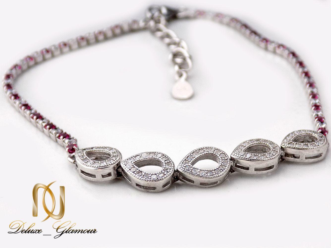 دستبند نقره دخترانه نگین دار طرح اشک Ds-n241 (3)