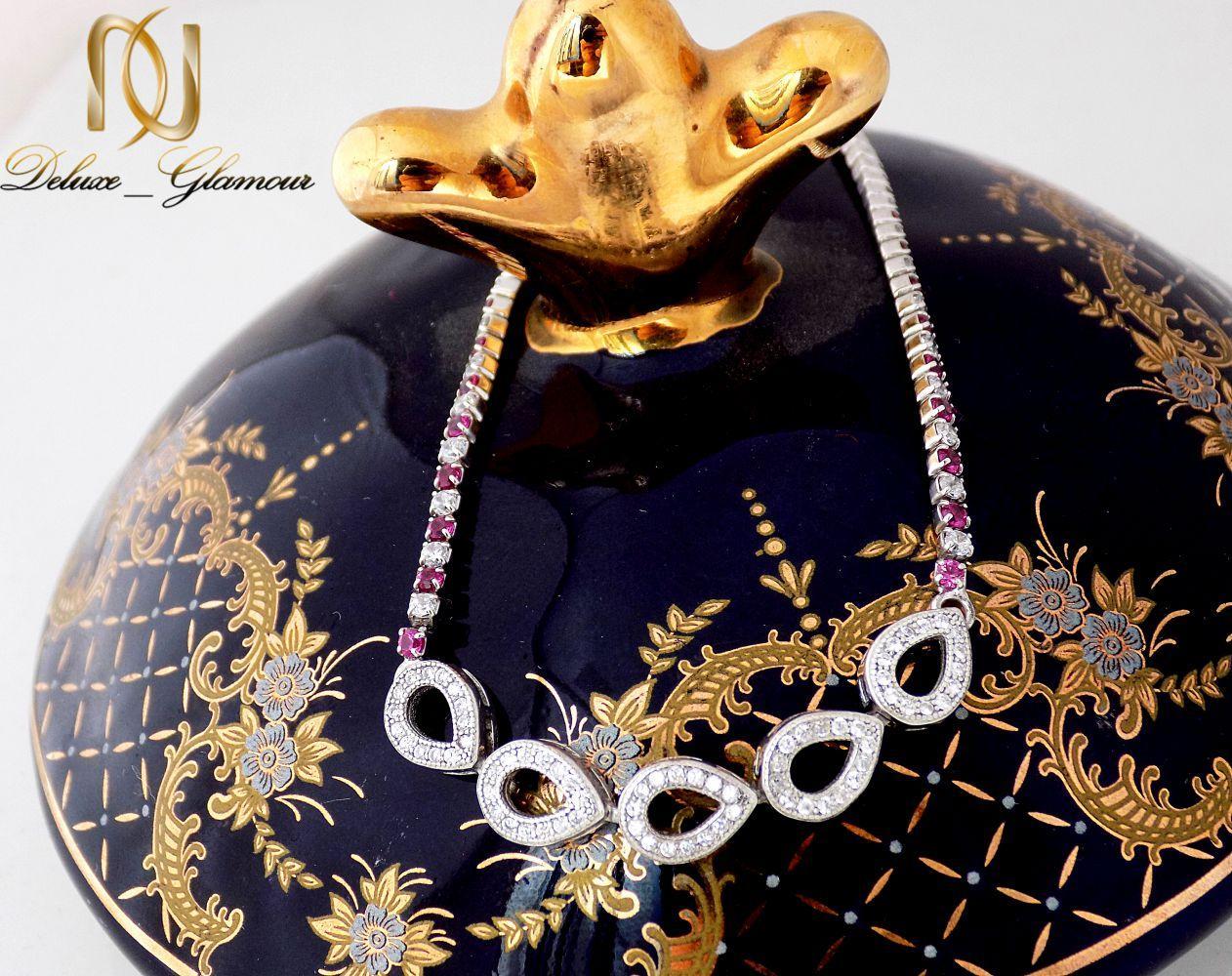 دستبند نقره دخترانه نگین دار طرح اشک Ds-n241 (4)