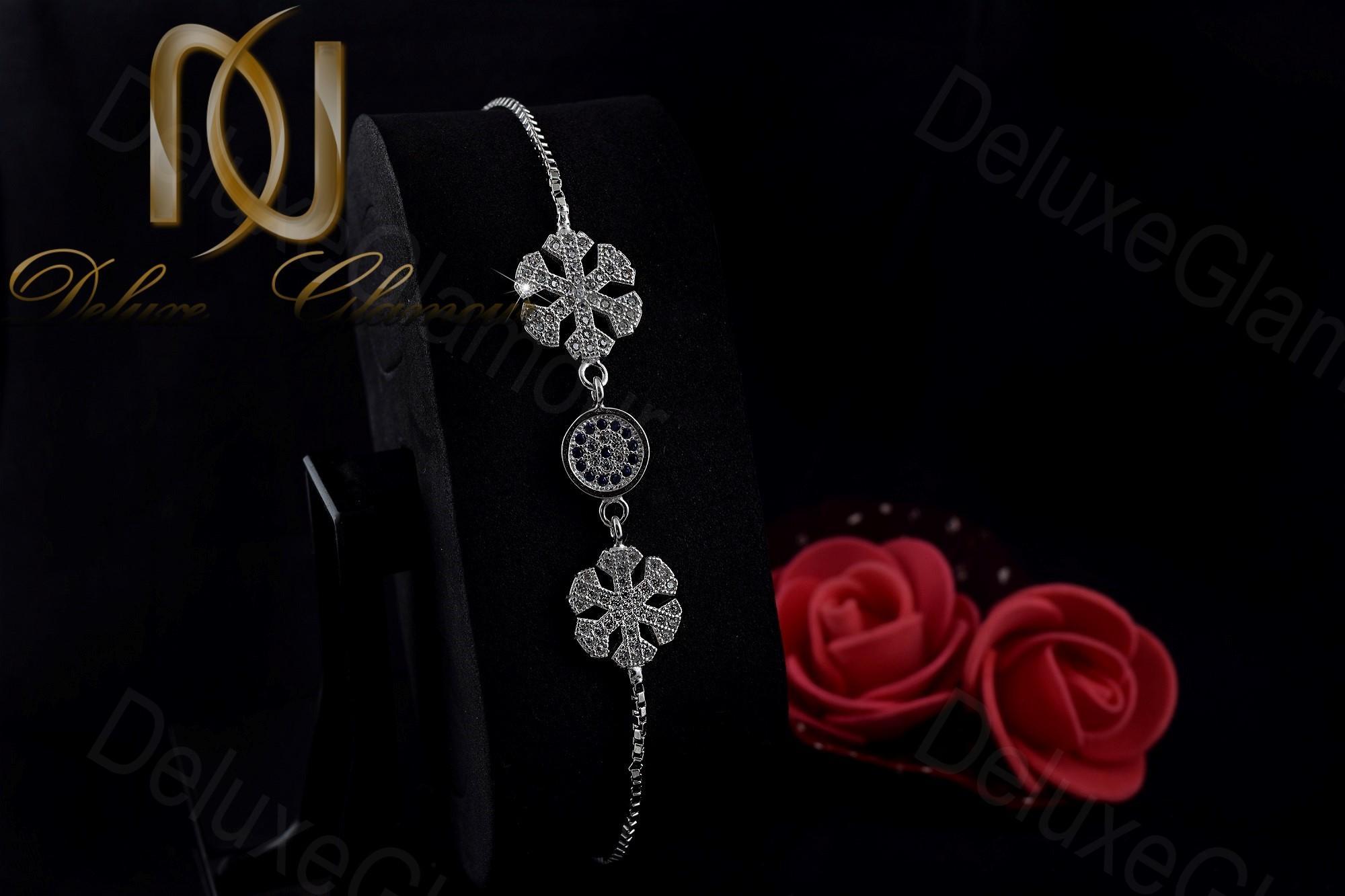 دستبند کراواتی نقره طرح چشم نظر و دانه برف Ds-n246 (2)